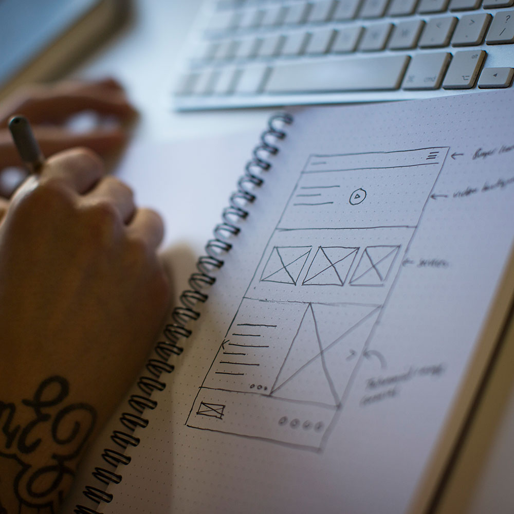 A close-up of a wireframe in a sketchbook.